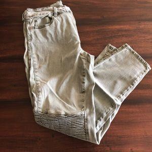 Pistola Pants - Olive green Moto style skinny pants